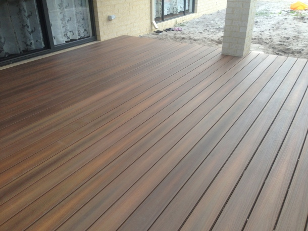 back yard composite decking