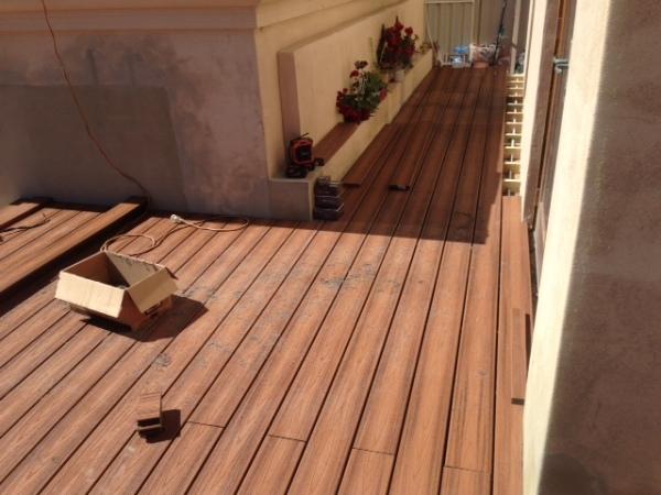 Tiki Torch Trex Boards Being Installed Composite Decking