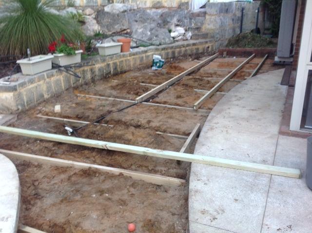 Preparing framework at mosman park for the nex gen decking for Decking framework timber