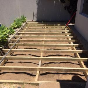 Framework of decking in place