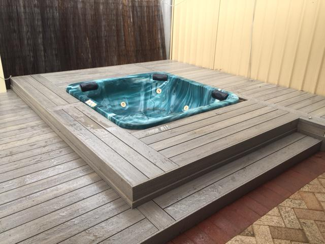 Decking around spa